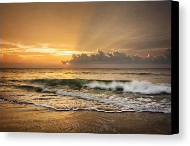 Waves Canvas Print featuring the photograph Crashing Waves At Sunrise by Greg Mimbs