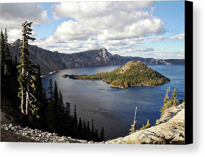 Peaceful Canvas Print featuring the photograph Crater Lake - Intense Blue Waters And Spectacular Views by Christine Till