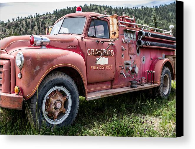 Firetruck Canvas Print featuring the photograph Crawford Fire Truck by Lynn Sprowl