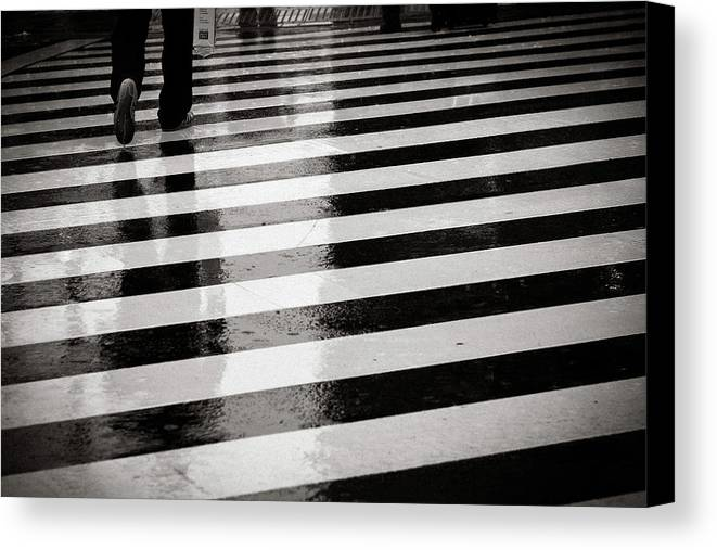 Adult Canvas Print featuring the photograph Crosswalk In Rain by photo by Jason Weddington