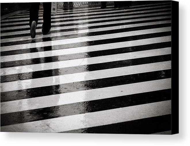 Adult Canvas Print featuring the photograph Crosswalk In Rain by photo by Jason Weddington