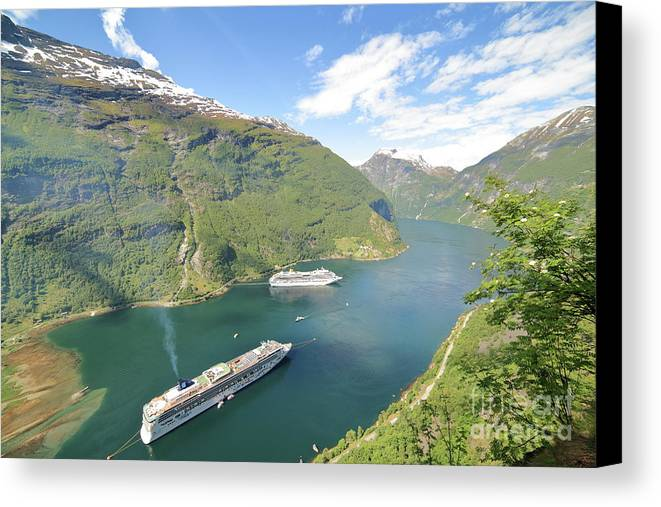 Costa Favolosa Canvas Print featuring the photograph Cruise In Geiranger Fjord Norway by Arild Lilleboe