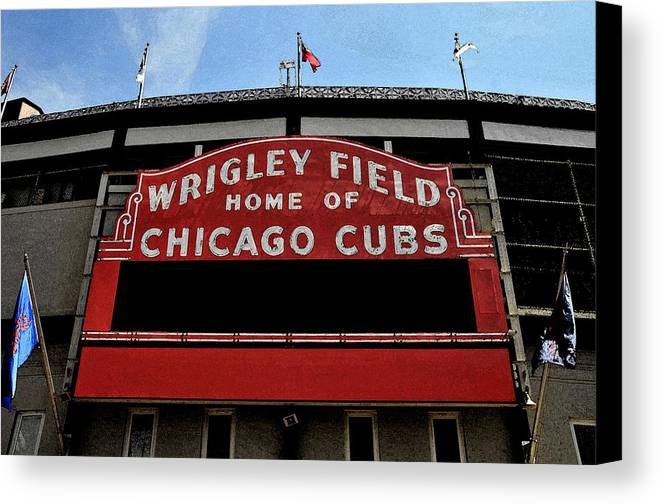 Wrigley Field Canvas Print featuring the digital art Cub's House by Lyle Huisken