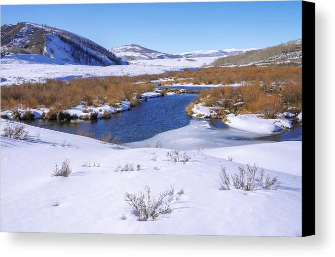 Currant Creek On Ice Canvas Print featuring the photograph Currant Creek On Ice by Chad Dutson