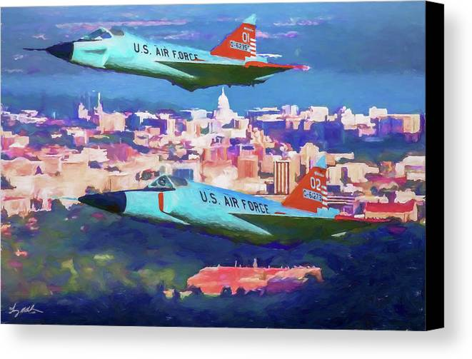 Convair F-102 Delta Dagger Canvas Print featuring the digital art Daggers Over Madison In Oil by Tommy Anderson