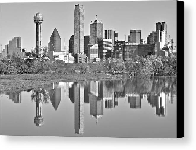 Dallas Canvas Print featuring the photograph Dallas Monochrome by Skyline Photos of America