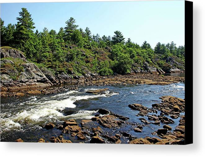 Dalles Rapids Canvas Print featuring the photograph Dalles Rapids French River Ontario by Debbie Oppermann