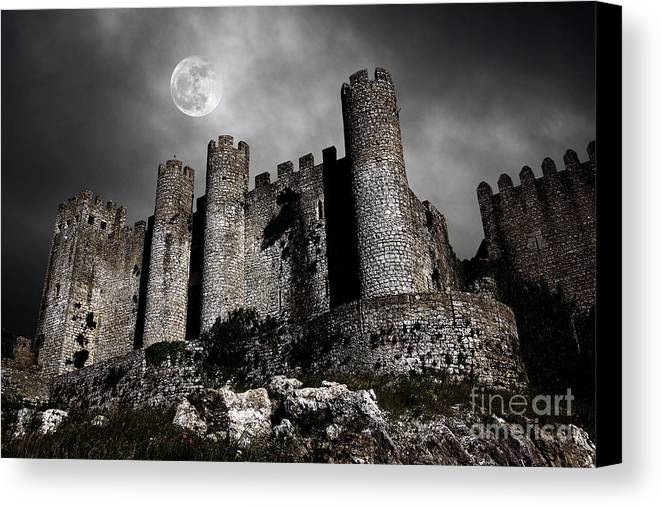 Ancient Canvas Print featuring the photograph Dark Castle by Carlos Caetano