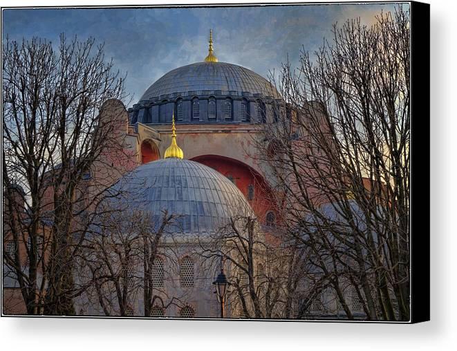Hagia Sophia Canvas Print featuring the photograph Dawn Over Hagia Sophia by Joan Carroll