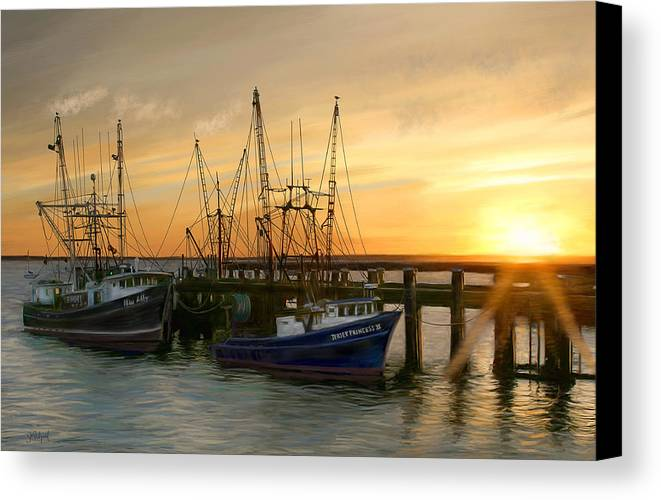 Boats Canvas Print featuring the digital art Daybreak by Sue Brehant