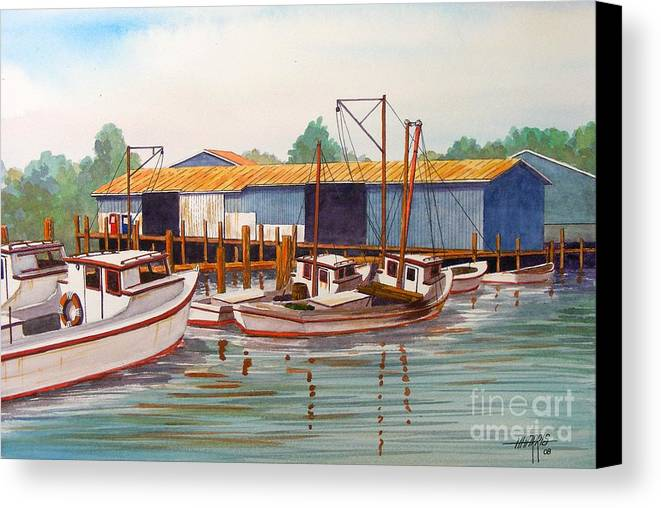 Landscape Canvas Print featuring the painting Deadrise Dock by Hugh Harris