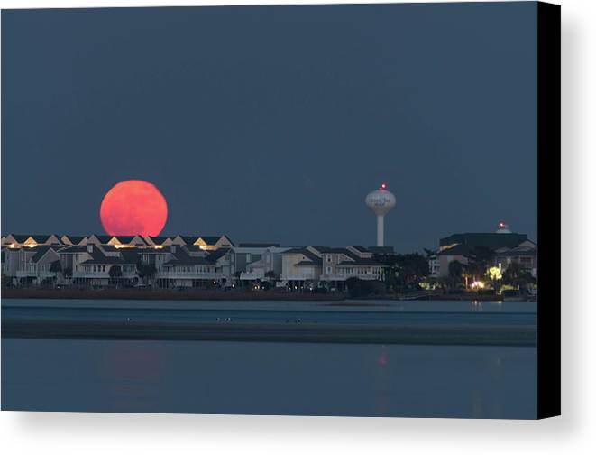 Supermoon Canvas Print featuring the photograph December Supermoon by Gerald Monaco