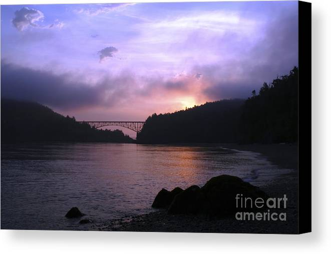 Sunrise Canvas Print featuring the photograph Deception Pass Sunrise by Idaho Scenic Images Linda Lantzy