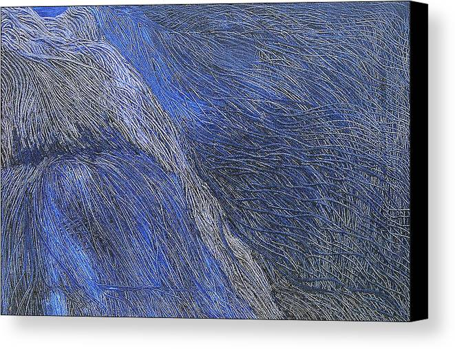 Abstract Canvas Print featuring the painting Deep Blue by Prakash Bal Joshi