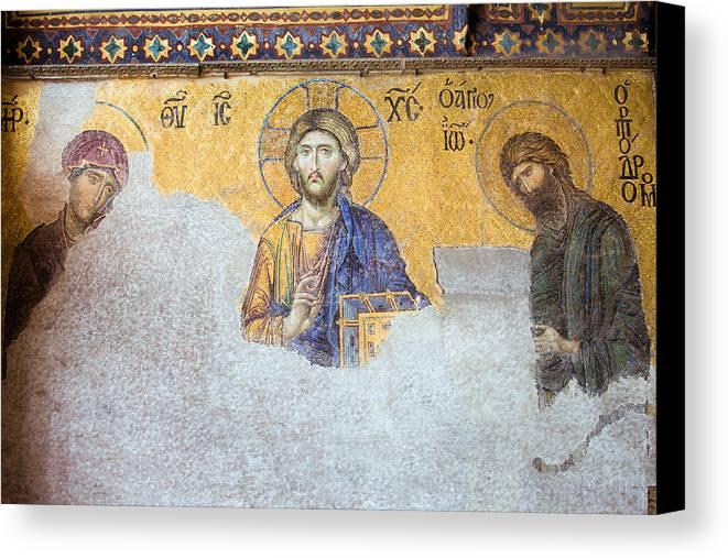 Art Canvas Print featuring the photograph Deesis Mosaic Of Jesus Christ by Artur Bogacki
