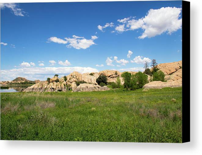 Landscape Canvas Print featuring the photograph Dells And Lake by Amy Sorvillo