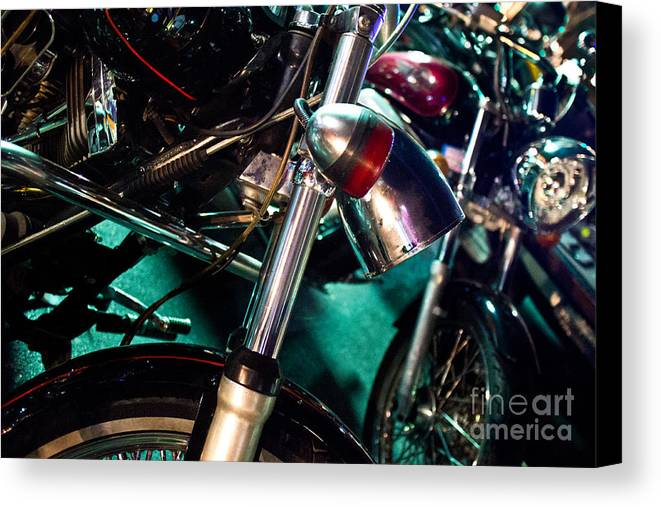 Vintage Canvas Print featuring the photograph Detail Of Chrome Headlamp On Vintage Style Motorcycle by Jason Rosette