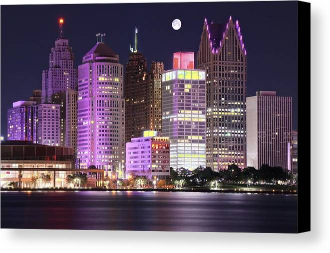 Detroit Canvas Print featuring the photograph Detroit Full Moon by Frozen in Time Fine Art Photography