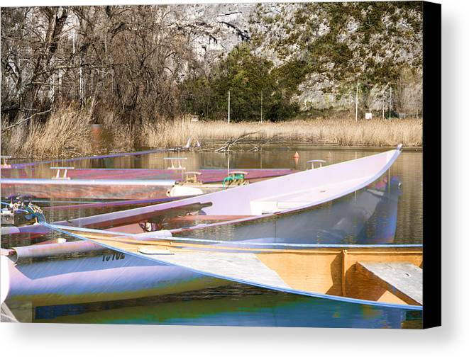 Boat Reflections Canvas Print featuring the photograph Deux Canoes by Mary Mansey