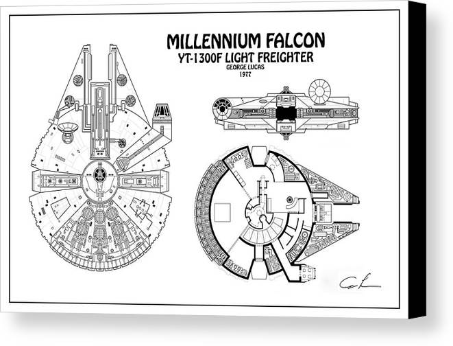 Diagram Illustration For The Millennium Falcon From Star Wars Canvas