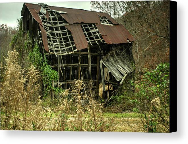 Dilapidated Canvas Print featuring the photograph Dilapidated Barn Morgan County Kentucky by Douglas Barnett