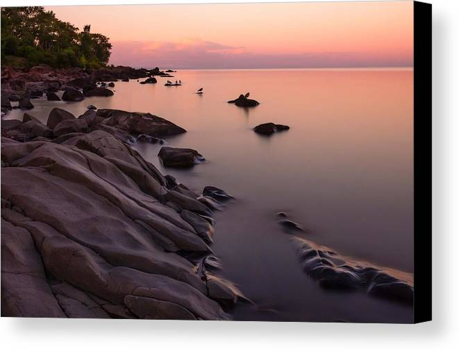 dimming Of The Day a Wonderful Song By Bonnie Raitt sunset Calm Peace Serenity lake Superior lake Superior Sunset brighton Beach Duluth Minnesota Nature long Exposure lake Superior Northshore ancient Rocks magic Canvas Print featuring the photograph Dimming Of The Day by Mary Amerman