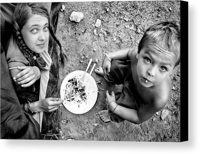 Black And White Photography Canvas Print featuring the photograph Dinner by Justyna Lorenc