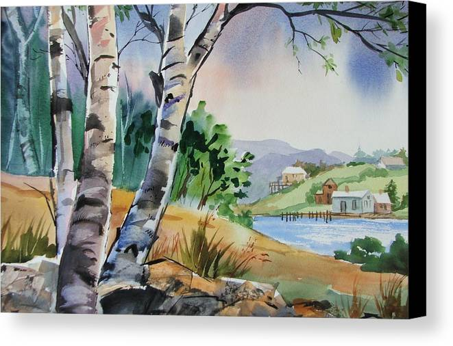 Birch Trees Canvas Print featuring the painting Distant View by Dianna Willman