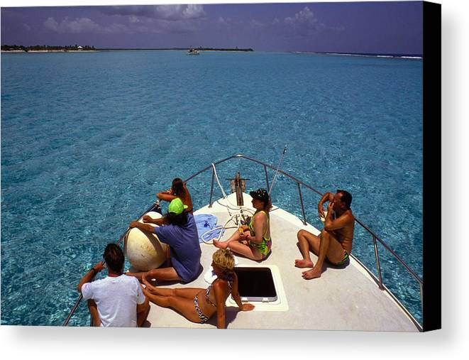 Turquoise Canvas Print featuring the photograph Diveboat At Little Cayman by Carl Purcell