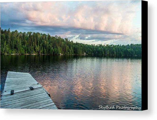 Lake Onaping Canvas Print featuring the photograph Dock Of The Lake by Megan Miller