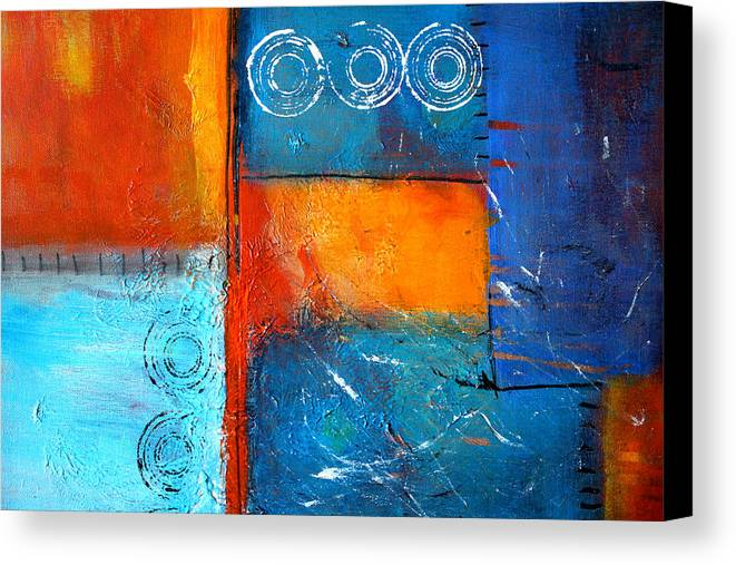 Large Abstract Painting Canvas Print featuring the painting Domino by Nancy Merkle