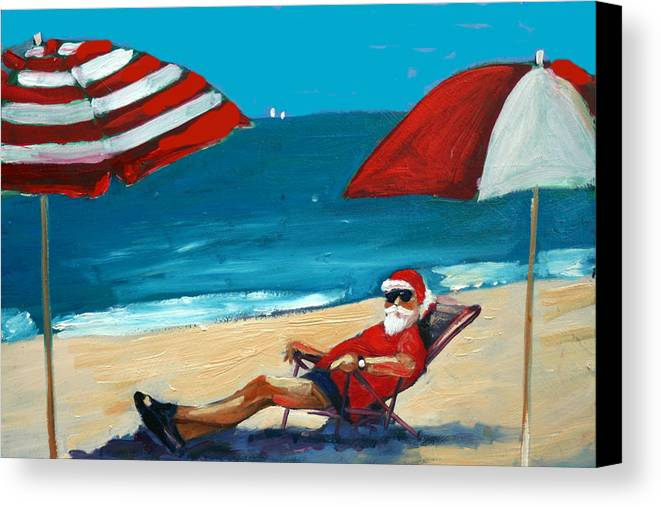 Beach Scene Canvas Print featuring the greeting card Down Time by Debbie Miller