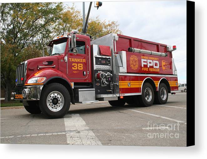 Fire Canvas Print featuring the photograph Downs Tanker 38 by Roger Look