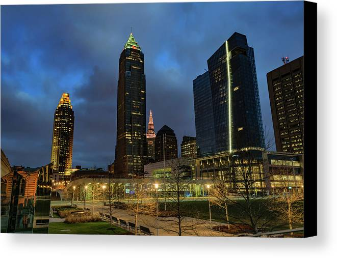 Building Canvas Print featuring the photograph Downtown Cleveland At Dusk by Cityscape Photography