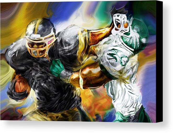 Football Canvas Print featuring the painting Downtown Express by Mike Massengale