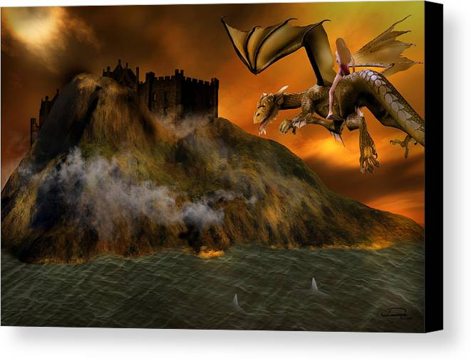 Fantasy Canvas Print featuring the painting Dragons Return To Lost Island by Emma Alvarez