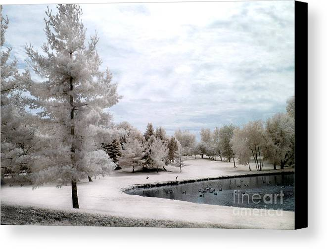 Infrared Prints Canvas Print featuring the photograph Dreamy Surreal Infrared Pond Landscape Nature Scene by Kathy Fornal