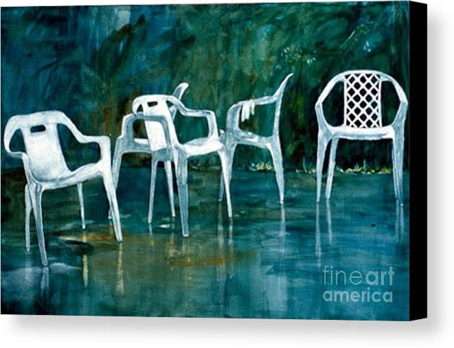 Lawn Chairs Canvas Print featuring the painting Drip Dry by Elizabeth Carr