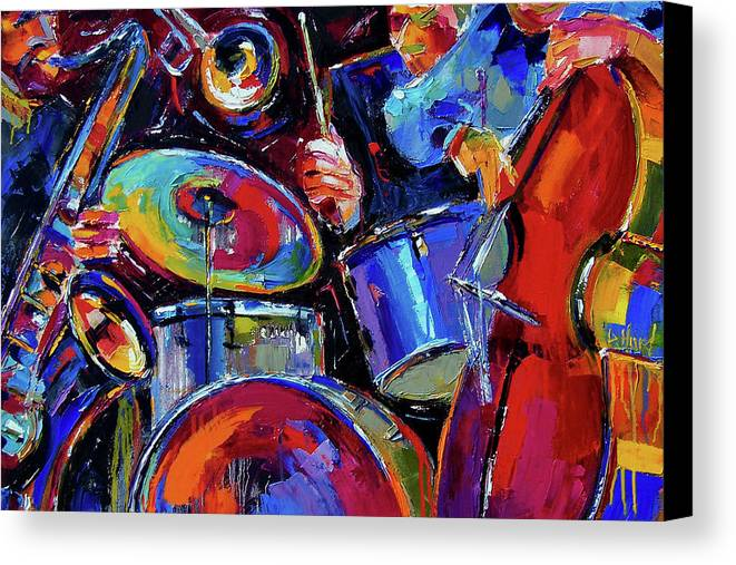 Jazz Canvas Print featuring the painting Drums And Friends by Debra Hurd