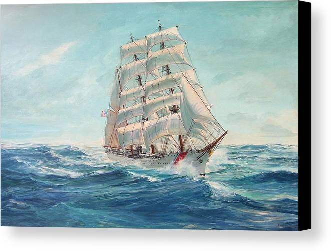 Coast Guard Training Ship - Eagle Newport Canvas Print featuring the painting Sailing Eagle by Perry's Fine Art