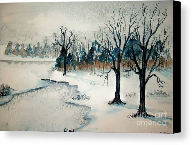 Snow Canvas Print featuring the painting Early Snow by Sandra McClure