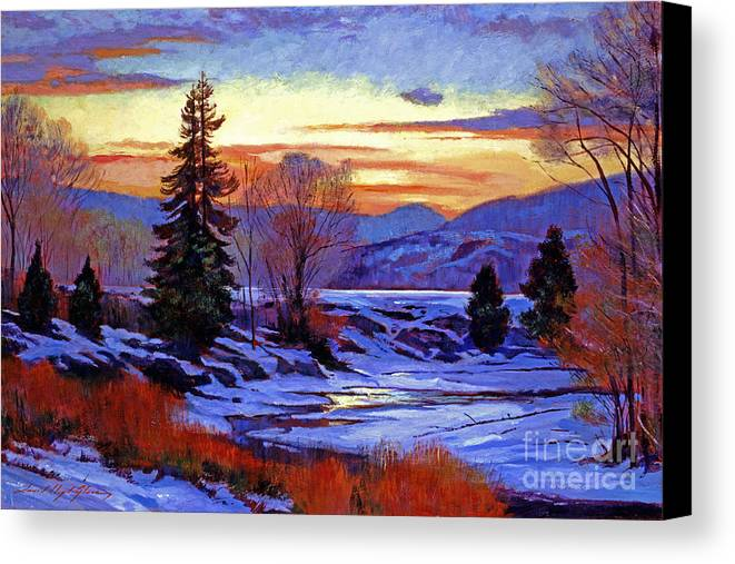 Snow Canvas Print featuring the painting Early Spring Daybreak by David Lloyd Glover