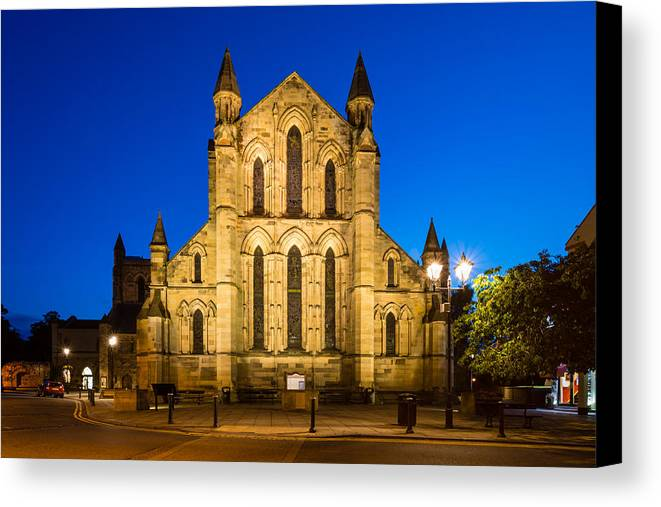 Northumberland Canvas Print featuring the photograph East Side Of Hexham Abbey At Night by David Head