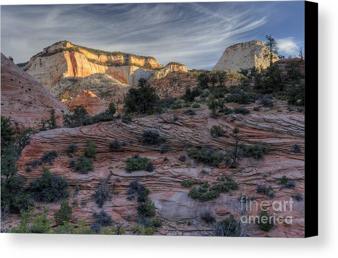 Hdr Canvas Print featuring the photograph East Zion Canyon Sunrise by Sandra Bronstein