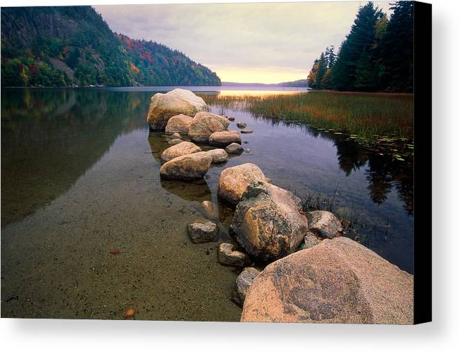 Acadia Canvas Print featuring the photograph Echo Lake Sunset by George Oze