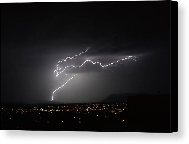 Lightning Canvas Print featuring the photograph Electric Horse by Mark Ziegler