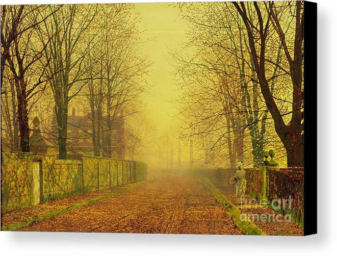 The Fall Canvas Print featuring the painting Evening Glow by John Atkinson Grimshaw