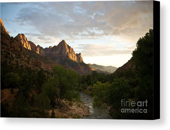 Utah Canvas Print featuring the photograph Evening Light On Watchman by Carl Jackson