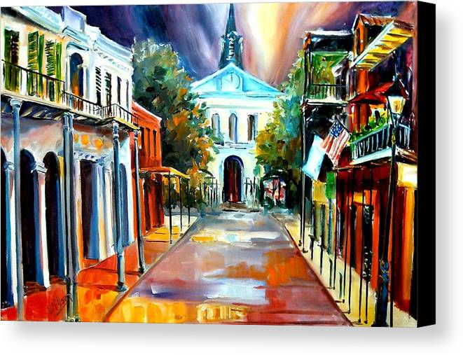 New Orleans Canvas Print featuring the painting Evening On Orleans Street by Diane Millsap