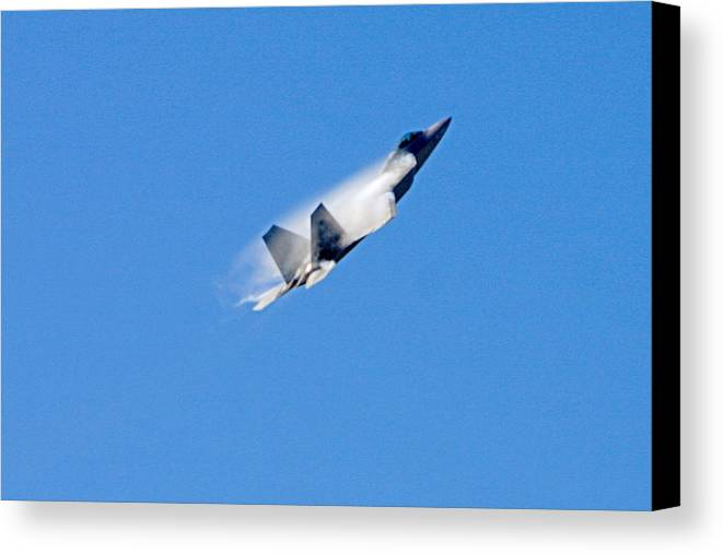Planes Canvas Print featuring the photograph F22 Full Power Climb by Dave Clark